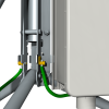 Ground lug and wire, and enclosure ground lug and wire