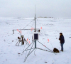 Author Sharon Smith makes a final inspection of the monitoring station before leaving Alert, Nunavut, Canada.