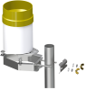CM270 exploded view with tipping bucket rain gage and pole (sold separately)