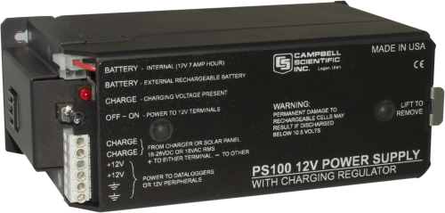 PS100 12 V Power Supply with Charging Regulator and 7 Ah Rechargeable Battery