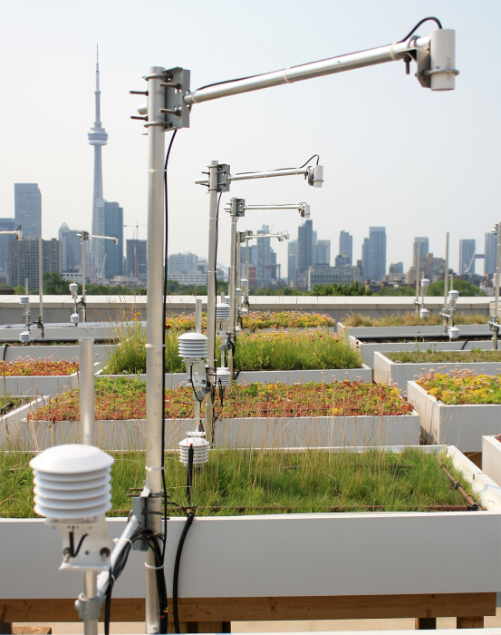 Sensors collecting data on raised planter beds at the University of Toronto's GRIT Lab