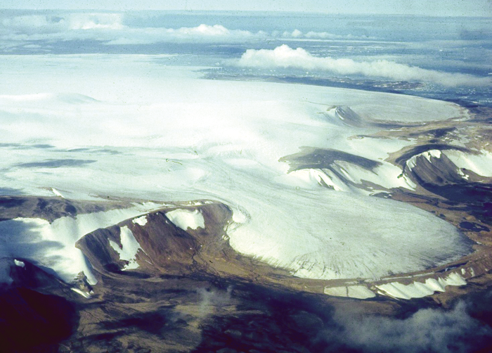 The southern edge of Devon Island Ice Cap in Nunavut, Canada, lies within the research area, where long-term data are being collected to study global warming.
